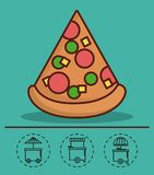 Food truck design. Pizza icon and food trucks icons around over turquoise background colorful design vector illustration Royalty Free Stock Photos
