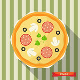 Pizza icon with long shadows. Stock Image