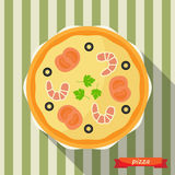 Pizza icon with long shadows. Royalty Free Stock Images