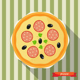 Pizza icon with long shadows. Stock Images