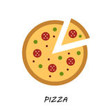 Pizza icon. Minimal design. Tasty pizza slices Stock Photos