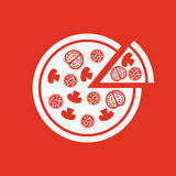 The pizza icon. Pizzeria and baking, fast food symbol. Flat Royalty Free Stock Photography