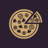 The pizza icon. Pizzeria and baking, fast food symbol. Flat Royalty Free Stock Photo