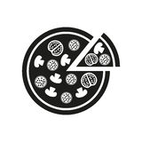 The pizza icon. Pizzeria and baking, fast food symbol. Flat Stock Photography