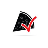 Pizza icon with red sign  illustration Royalty Free Stock Photos