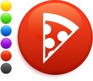 Pizza icon on round internet button Royalty Free Stock Photos