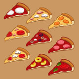Pizza icon set Stock Photos