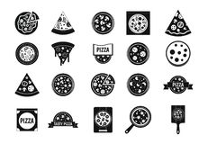 Pizza icon set, simple style Stock Image