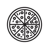 Pizza icon vector sign and symbol isolated on white background vector illustration