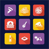 Pizza Icons Flat Design Royalty Free Stock Photos