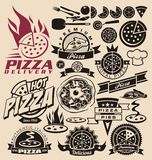Pizza icons and labels Stock Images