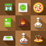 Pizza icons with pizzeria and chef set Royalty Free Stock Photo