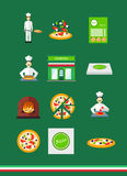 Pizza icons with pizzeria and chef set Royalty Free Stock Photos