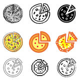 Pizza icons set. Delicious pizza icons vector set royalty free illustration