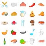 Pizza icons set, cartoon style stock illustration