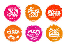 Pizza icons set. Collection labels for menu design restaurant or cafe. Vector illustration Royalty Free Stock Images