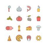 Pizza icons Royalty Free Stock Photos