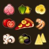 Pizza icons set stock illustration