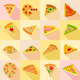 Pizza icons set, flat style Royalty Free Stock Image
