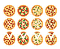 Pizza icons Royalty Free Stock Images