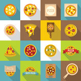 Pizza icons set food, flat style Stock Photography