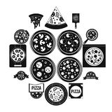 Pizza icons set food, simple style. Pizza icons set food. Simple illustration of 16 pizza vector icons for web Royalty Free Stock Images
