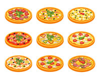 Pizza Icons Set. With fruit vegetables meat and fish flat isolated vector illustration Royalty Free Stock Images
