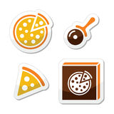 Pizza  icons set isolated on white Stock Photo
