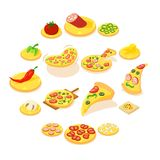 Pizza icons set, isometric style. Pizza icons set. Isometric illustration of 16 pizza vector icons for web Royalty Free Stock Photos