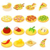Pizza icons set, isometric style Stock Photos