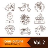 Pizza Icons Set Outline Stock Images