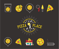 Pizza icons Royalty Free Stock Image