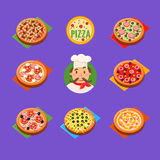Pizza Icons Vector Set Royalty Free Stock Image
