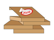 Pizza. Illustration of a cardboard pizza in boxes Royalty Free Stock Image