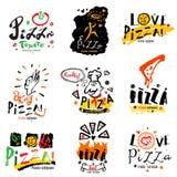 Pizza illustration and logo. Royalty Free Stock Photo
