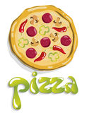 Pizza illustration. Pastry illustration.Pizza vector drawing Royalty Free Stock Photos