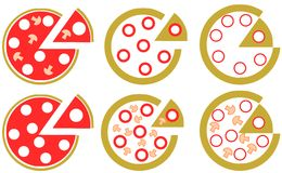 Set of Stylized Pizza Royalty Free Stock Photos