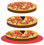 Pizza - Illustration. View of  pizza isolated on white Stock Photos