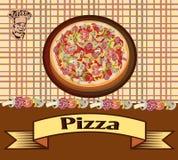 Pizza, illustrazione, menu Immagine Stock