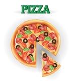 Pizza Immagine di vettore delle carni creative delle pizze Pizza dell'italiano dell'icona Fotografie Stock Libere da Diritti