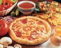 Pizza and ingedients. Stock Photography