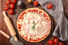 Pizza and ingredient royalty free stock photography