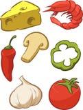 Pizza Ingredient - Tomato, Cheese, Pepper, Onion Stock Photos