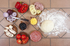 Pizza ingredients Royalty Free Stock Images