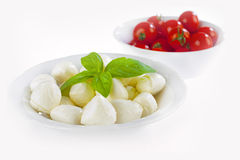 Pizza ingredients. Tomatoes, mozzarella, an basil in two plates Royalty Free Stock Photo