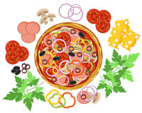 Pizza and ingredients. Pizza and set of ingredients Stock Photography
