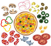 Pizza and ingredients Stock Images