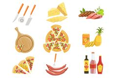 Pizza Ingredients And Cooking Utensils Collection. Vector Illustration In Realistic Simplified Style Royalty Free Stock Photo