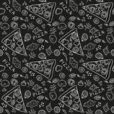Pizza ingredients - black board seamless pattern Stock Photo