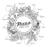 Pizza and ingredients, black outline on a white background. Cheese, vegetables, dough, meat, recipe Royalty Free Illustration